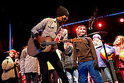 Saturday, March 26, 2016  : Michael Franti of Michael Franti & Spearhead brings kids up on stage to join their performance at Park City Mountain Resort as part of their Spring Grüv.  Photo by Jeff Swinger/SwingmanPhoto