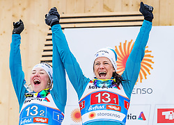 24.02.2019, Langlauf Arena, Seefeld, AUT, FIS Weltmeisterschaften Ski Nordisch, Seefeld 2019, Langlauf, Damen, Teambewerb, Flower Zeremonie, im Bild Silbermedaillengewinnerin Katja Visnar, Anamarija Lampic (SLO) // Silver medalist Katja Visnar Anamarija Lampic of Slovenia during the flowers ceremony for the ladie's cross country team competition of FIS Nordic Ski World Championships 2019 at the Langlauf Arena in Seefeld, Austria on 2019/02/24. EXPA Pictures © 2019, PhotoCredit: EXPA/ Stefan Adelsberger