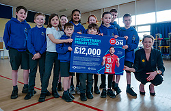 EMBARGOED until 00.01 Friday 13 March 2020. Davidsons Mains Primary School, Edinburgh, Scotland, United Kingdom: Sport Relief Funding. On Sport Relief Day, Jenny Gilruth announces a £1.75 million joint funding package from the Scottish Government and Sport Relief for projects using sport to champion gender equality. Davidsons Mains primary school is a top fundraising school for Sport Relief. Pictured: Jenny Gilruth with pupil sports leaders from P4-P7.<br /> Sally Anderson | EdinburghElitemedia.co.uk