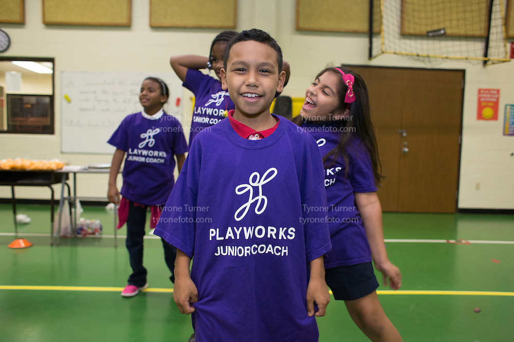 Playworks<br /> <br /> <br /> Chambers Elementary School<br /> 10700 Carvel Ln., <br /> Houston, TX 77072<br /> <br /> Junior Coaches training<br /> <br /> RWJF release for pic #4691