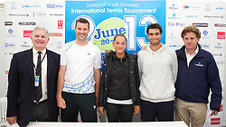 LIVERPOOL, ENGLAND - Thursday, June 20, 2013: Tournament Referee Alan Mills, Barry Cowan, Alexandra Cadantu, Pablo Andujar and Tournament Director Anders Borg during a press conference on Day One at the Liverpool Hope University International Tennis Tournament at Calderstones Park. (Pic by David Rawcliffe/Propaganda)