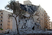 A bombed apartment building is seen at the northern entrance of the Syrian city of Aleppo August 12,2012. Syrian government forces are still battling for control against the Syrian Free Army . (Photo by Heidi Levine/Sipa Press).