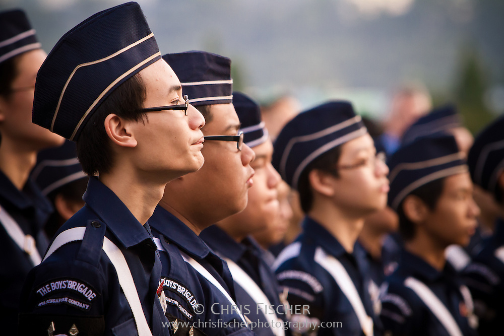 Members of the Boy's Brigade in attendance at the Remembrance Day ceremony at the Kranji War Memorial, Singapore, Nov. 13, 2011.