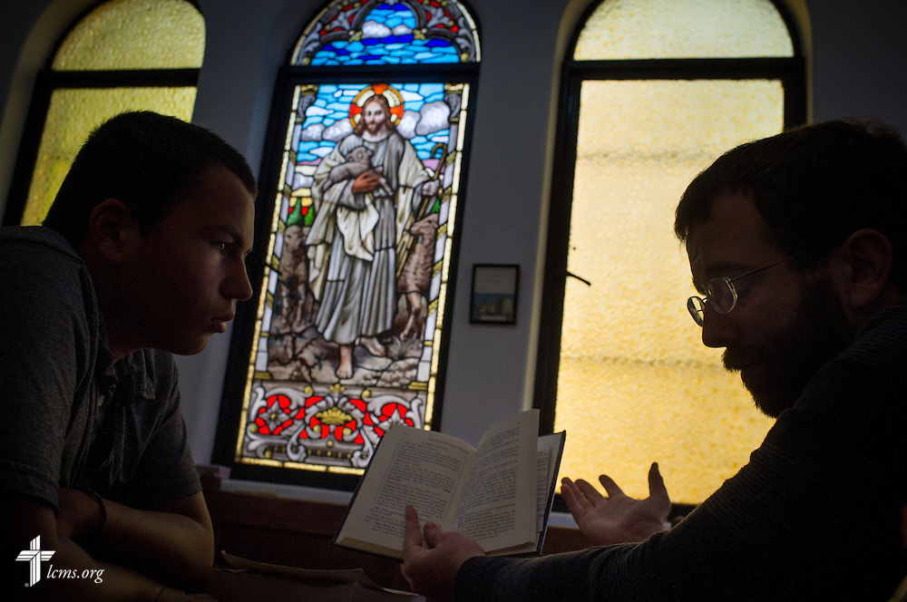 The Rev. Andrew Schlund, LCMS missionary to Mexico, teaches the catechism to Cole Schroeder during a confirmation class at the Lutheran Church of The Good Shepherd on Sunday, Jan. 15, 2017, in Mexico City. LCMS Communications/Erik M. Lunsford
