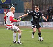 Dundee's Greg Stewart runs at Hamilton&rsquo;s Ziggy Gordon -  Dundee v Hamilton Academical, SPFL Premiership at Dens Park <br /> <br /> <br />  - &copy; David Young - www.davidyoungphoto.co.uk - email: davidyoungphoto@gmail.com