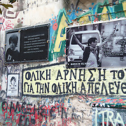 A banner showing is placed in Exarchia, Greece, the image of 15 years old Turkish boy Berkin Elvan who was hit on the head by a tear-gas canister fired by a police officer in Istanbul after going out to buy bread during the June 2013 anti-government protests.