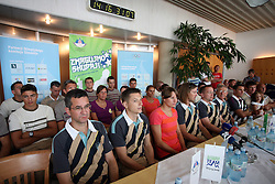 Press conference of Slovenian Olympic Team at departure to Beijing 2008 Olympic games, on July 31, 2008, at Airport Jozeta Pucnika, Brnik, Slovenia. (Photo by Vid Ponikvar / Sportal Images)/ Sportida)