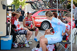Chantal Hoffmann and her Lotto Soudal teammates chat ahead of the 26.4 km Stage 2 Team Time Trial of the Boels Ladies Tour 2016 on 31st August 2016 in Gennep, Netherlands. (Photo by Sean Robinson/Velofocus).