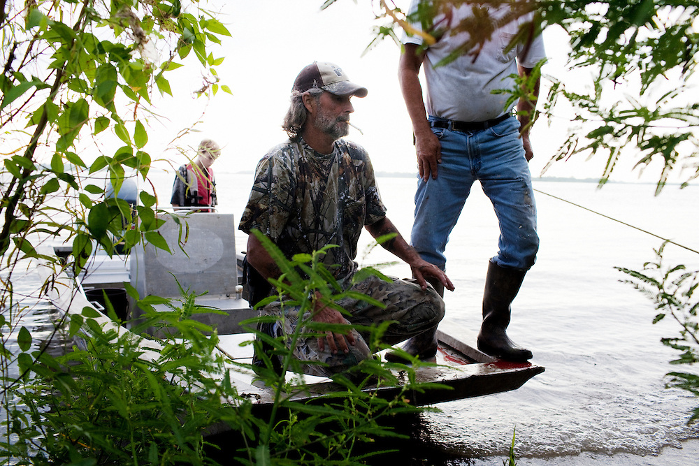 Rebel and Julius Gaudet, 62, check a line that has been dragged onto the shore while alligator hunting near Shell Island, Louisiana on Sunday, September 20, 2009. This particular alligator had escaped.