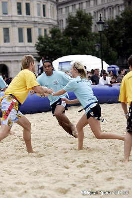 RFU Beach Rugby. Trafalgar Square.