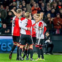 ROTTERDAM - Feyenoord - ADO Den Haag , Voetbal , KNVB Beker , Seizoen 2016/2017 , De Kuip , 14-12-2016 , Feyenoord viert de 1-0 van Feyenoord speler Nicolai Jorgensen (l) met o.a. Feyenoord speler Dirk Kuyt (m) en Feyenoord speler Tonny Vilhena (r) en Feyenoord speler Karim El Ahmadi (2e r)