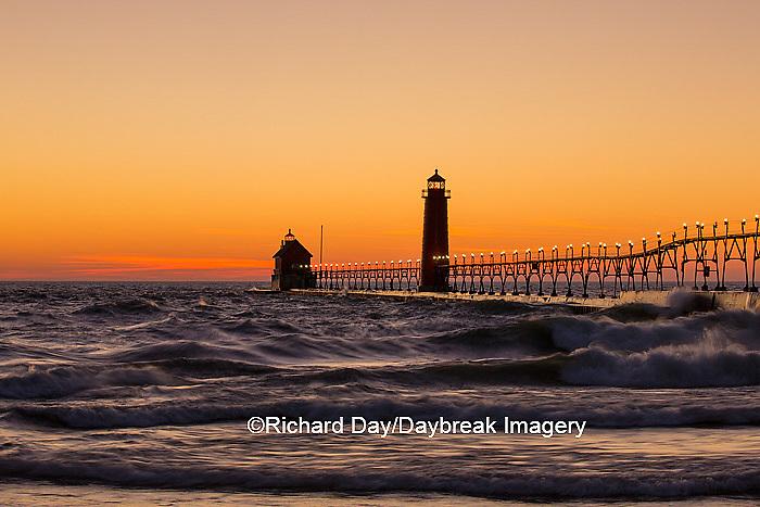 64795-01109 Grand Haven South Pier Lighthouse at sunset on Lake Michigan, Ottawa County, Grand Haven, MI