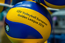 12-06-2019 NED: Golden League Netherlands - Estonia, Hoogeveen<br /> Fifth match poule B - The Netherlands win 3-0 from Estonia in the series of the group stage in the Golden European League / Ball Mikasa CEV Golden League