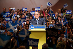 © Licensed to London News Pictures. 17/09/2014. Perth, UK. First Minister Alex Salmond delivers his final message to the people of Scotland on the eve of the referendum at Perth Concert Hall on Wednesday, 17 September 2014. Photo credit : Tolga Akmen/LNP