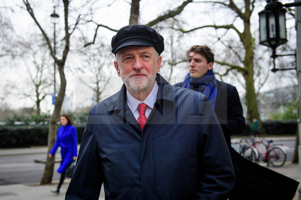 """© Licensed to London News Pictures. 10/01/2017. London, UK. Labour Party leader JEREMY CORBYN seen leaving Milbank Studios in London after A television interview. Corbyn is due to give a speech on Brexit later today, arguing that the UK """"can be better off"""" after leaving the EU. Photo credit: Ben Cawthra/LNP"""