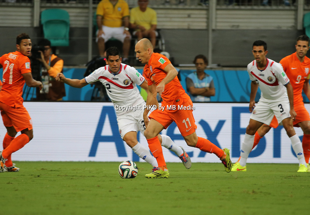 Fifa Soccer World Cup - Brazil 2014 - <br /> NETHERLANDS (NED) Vs. COSTA RICA (CRC) - Quarter-finals -Arena Fonte Nova Salvador (BRA)- Brazil (BRA) - 05 July 2014 <br /> Here Holland player Arjen ROBBEN (C). Costa Rican player Johnny ACOSTA (L)<br /> &copy; PikoPress