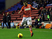 Blackpool Striker Elliot Lee during the Sky Bet League 1 match between Wigan Athletic and Blackpool at the DW Stadium, Wigan, England on 12 December 2015. Photo by Pete Burns.
