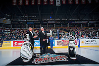 KELOWNA, CANADA - JANUARY 10: Kelowna Rockets President and General Manager, Bruce Hamilton watches the jumbotron during a celebration of Team Canada gold at the World Junior Hockey Championship on January 10, 2015 at Prospera Place in Kelowna, British Columbia, Canada.  (Photo by Marissa Baecker/Shoot the Breeze)  *** Local Caption *** Bruce Hamilton;