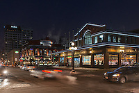 Night view of York Street with Salon De  Provence Bakery on the right and Andaz Hotel in the background, Byward Market, Ottawa