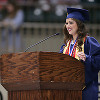 Nettleton's Valedictorian Jensine Coggin reminds her classmates that their graduation is not the end but a reset so they can become whatever they want.