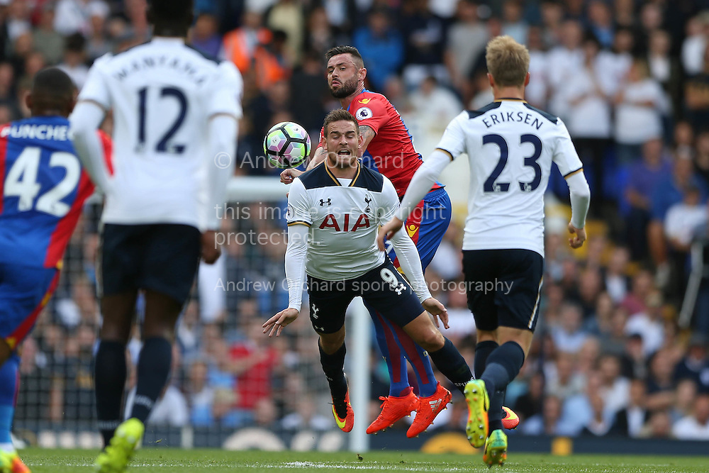 Damien Delaney of Crystal Palace challenges Vincent Janssen of Tottenham Hotspur. Premier league match, Tottenham Hotspur v Crystal Palace at White Hart Lane in London on Saturday 20th August 2016.<br /> pic by John Patrick Fletcher, Andrew Orchard sports photography.