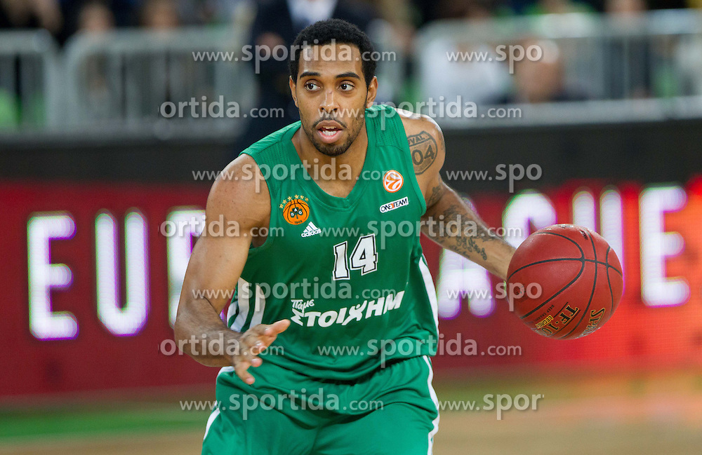Derwin Kitchen of Panathinaikos during basketball match between KK Union Olimpija and Panathinaikos Athens (GRE)  in 3rd Round of Regular season of Euroleague 2012/13 on October 26, 2012 in Arena Stozice, Ljubljana, Slovenia. (Photo By Vid Ponikvar / Sportida)