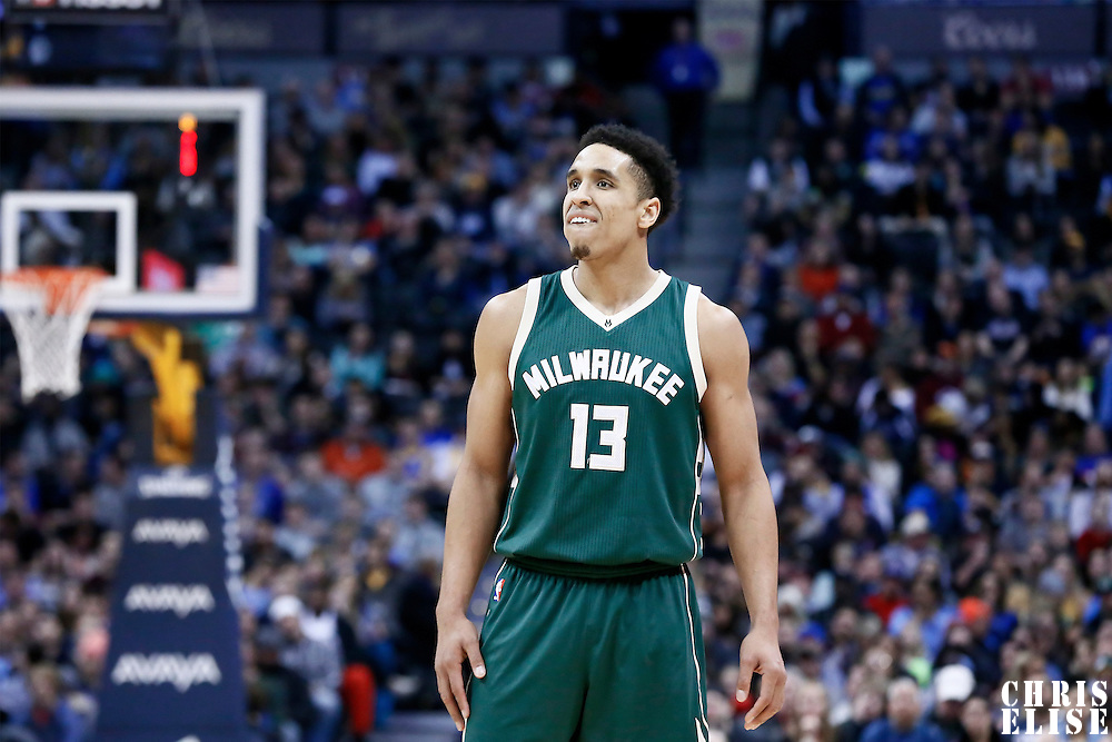 03 February 2016: Milwaukee Bucks guard Malcolm Brogdon (13) is seen during the Denver Nuggets 121-117 victory over the Milwaukee Bucks, at the Pepsi Center, Denver, Colorado, USA.