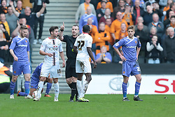 MK Dons forward Sanmi Odelusi (27) gets his marching ordes after receiving a red card from referee Kevin Wright   - Photo mandatory by-line: Nigel Pitts-Drake/JMP - Tel: Mobile: 07966 386802 29/03/2014 - SPORT - FOOTBALL -  Stadium MK - Milton Keynes - Milton Keynes Dons v Wolverhampton Wanderers - Sky Bet League One
