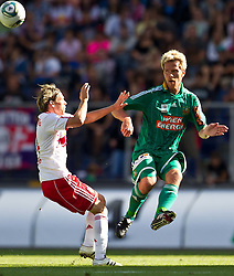 28.08.2011, Red Bull Arena, Salzburg, AUT, 1. FBL, RED BULL SALZBURG vs RAPID WIEN, im Bild Christoph Leitgeb (Red Bull Salzburg, #24), vs Ragnvald Soma (SK Rapid Wien, #22) // during the Austrian Bundesliga Match, RED BULL SALZBURG against RAPID VIENNA, Red Bull Arena, Salzburg, 2011-08-28, EXPA Pictures © 2011, PhotoCredit: EXPA/ J. Feichter