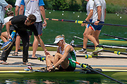 Lucerne, SWITZERLAND, 12th July 2018, Friday  FISA World Cup series, No.3, Lake Rotsee, Lucerne,  Sanita PUSPURE, W1X, IRL , with Coach, David McGOWAN, Photographer Karon PHILLIPS