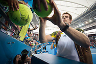 Andy MURRAY (GBR) signs autographs for fans after the mens singles final. Brisbane International Tennis Championship. Queensland Tennis Center, Tennyson, Brisbane, Queensland, Australia. 06/01/2013. Photo By Lucas Wroe