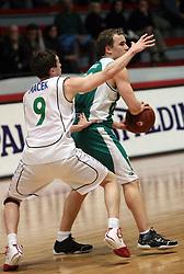 Andrej Macek of Zlatorog and Bojan Krivec of Krka at basketball game Zlatorog Lasko - Krka in in the first match of quarter-final of Spar Cup, on February 7, 2008 in Ljubljana, Slovenia.   (Photo by Vid Ponikvar / Sportal Images).