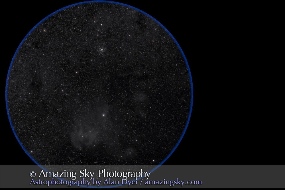 IC 2944 and IC 2948 Lambda Centauri area and clusters. Taken from Coonabarabran, Australia, .March 15, 2007. With 77mm Borg astrograph at f/4.3 and Hutech-modified Canon 5D camera at ISO400 for stack of 6 x 10 minute exposures under warm +20° temps.