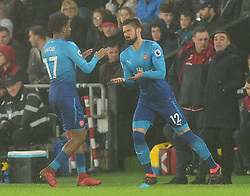 Olivier Giroud of Arsenal replaces Alex Iwobi of Arsenal - Mandatory by-line: Alex James/JMP - 30/01/2018 - FOOTBALL - Liberty Stadium - Swansea, England - Swansea City v Arsenal - Premier League