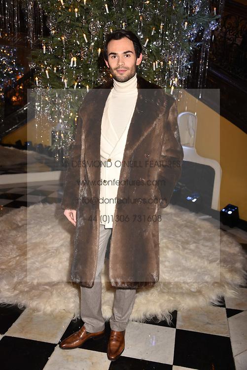 Mark-Francis Vandelli at reception to celebrate the launch of the Claridge's Christmas Tree 2017 at Claridge's Hotel, Brook Street, London England. 28 November 2017.<br /> Photo by Dominic O'Neill/SilverHub 0203 174 1069 sales@silverhubmedia.com