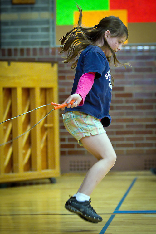 Rheana keeps up the pace with her jump rope partner during the Borah Elementary talent show Tuesday, June 8, 2010. Rheana and Janessa practiced for a few weeks to get their routine down just right.