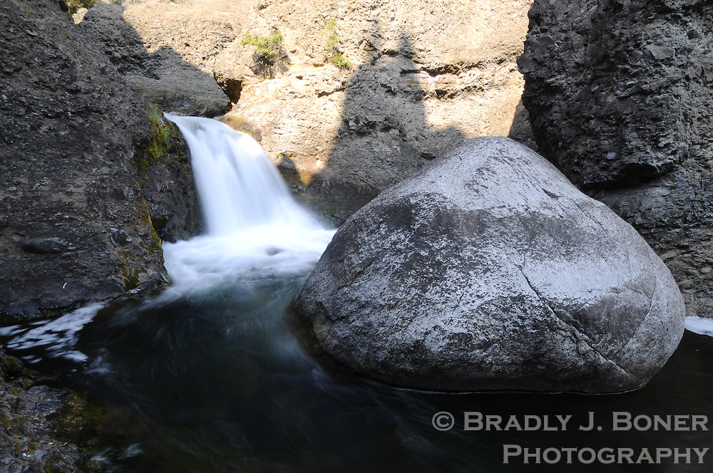 Boulder Falls in Devil's Den on Tower Creek, above Tower Fall, Yellowstone National Park, Wyo.