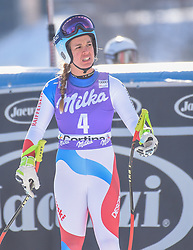 19.01.2019, Olympia delle Tofane, Cortina d Ampezzo, ITA, FIS Weltcup Ski Alpin, Abfahrt, Damen, im Bild Jasmine Flury (SUI) // Jasmine Flury of Switzerland reacts after her run in the ladie's Downhill of FIS ski alpine world cup at the Olympia delle Tofane in Cortina d Ampezzo, Italy on 2019/01/19. EXPA Pictures © 2019, PhotoCredit: EXPA/ Erich Spiess