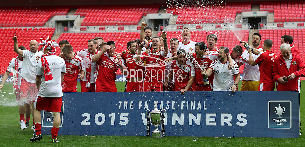 North Shields celebrate the vase win during the FA Vase Final between Glossop North End and North Shields at Wembley Stadium, London, England on 9 May 2015. Photo by Phil Duncan.