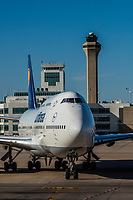 Lufthansa 747-400 taxiing to gate at Denver Internationl Airport, Denver, Colorado USA.