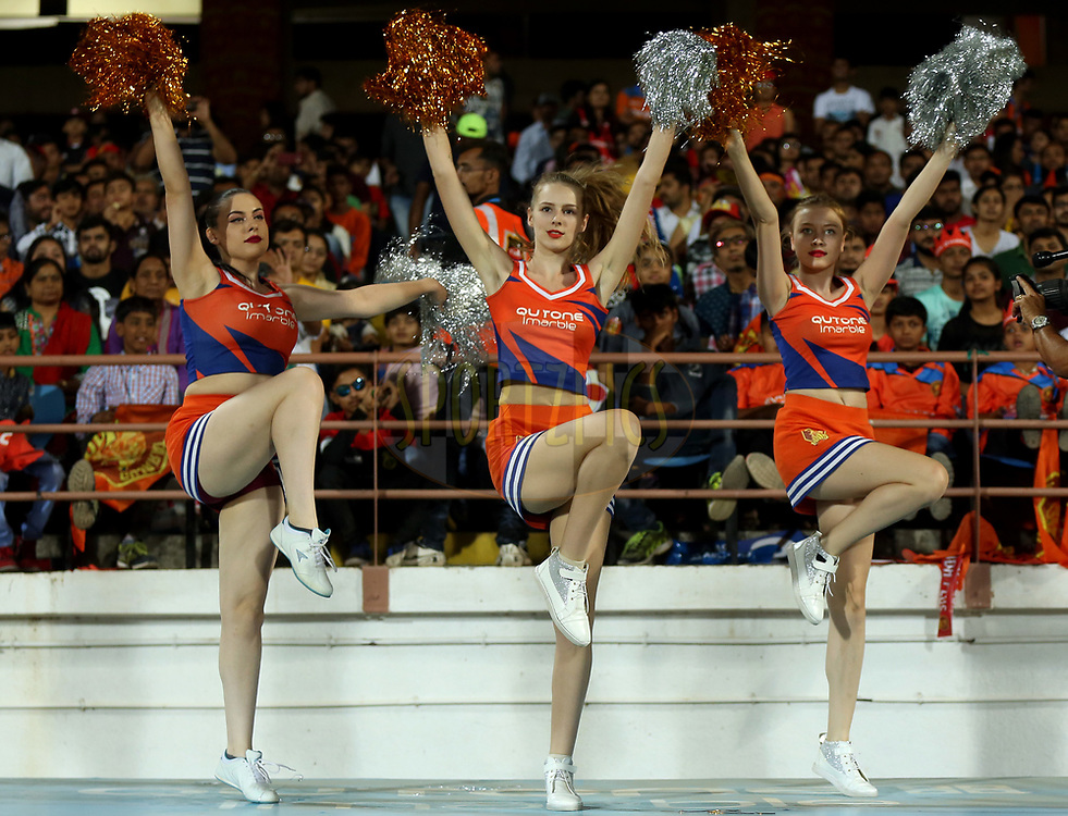 Gujarat Lions Cheer Girls performs during match 20 of the Vivo 2017 Indian Premier League between the Gujarat Lions and the Royal Challengers Bangalore  held at the Saurashtra Cricket Association Stadium in Rajkot, India on the 18th April 2017<br /> <br /> Photo by Sandeep Shetty - Sportzpics - IPL