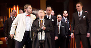 Rigoletto <br /> by Verdi <br /> English National Opera at the London Coliseum, London, Great Britain <br /> rehearsal <br /> 31st January 2017 <br /> <br /> <br /> <br /> Nicholas Pallesan as Rigoletto (left)<br /> Nicholas Folwell as Monterone <br /> <br /> <br /> <br /> <br /> <br /> Photograph by Elliott Franks <br /> Image licensed to Elliott Franks Photography Services