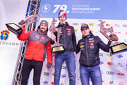 26.01.2019, Streif, Kitzbühel, AUT, FIS Weltcup Ski Alpin, Slalom, Herren, Siegerehrung, im Bild v.l. Marcel Hirscher (AUT, 2. Platz), Clement Noel (FRA, 1. Platz), Alexis Pinturault (FRA, 3. Platz) // f.l. second placed Marcel Hirscher of Austria winner Clement Noel of France third placed Alexis Pinturault of France during the winner Ceremony for the men's Slalom of FIS Ski Alpine World Cup at the Streif in Kitzbühel, Austria on 2019/01/26. EXPA Pictures © 2019, PhotoCredit: EXPA/ Johann Groder