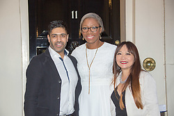 Zak Patel (left to right, Founder of Talk Direct), Tessy Ojo (CEO of Diana Award) and  posing for photos outside 11 Downing Street to celebrate seventeen years of the Diana Award. This award, set up in memory of Princess Diana, today has the support of both her sons the Duke of Cambridge and Prince Harry. Photo date: Wednesday, October 19, 2016. Photo credit should read: Richard Gray/EMPICS Entertainment