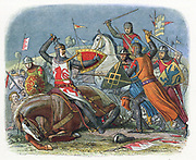 William I of Scotland, 'The Lion' (1143-1214) taken prisoner by the English at Alnwick, Northumberland 1174. Colour-printed wood engraving 1864