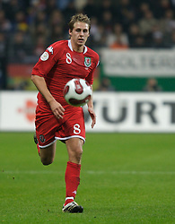 FRANKFURT, GERMANY - Wednesday, November 21, 2007: Wales' David Edwards in action against Germany during the final UEFA Euro 2008 Qualifying Group D match at the Commerzbank Arena. (Pic by David Rawcliffe/Propaganda)