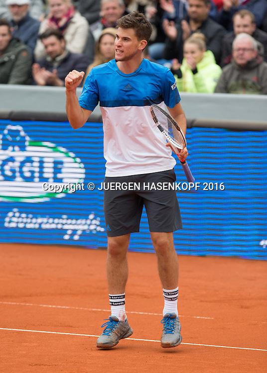Dominic Thiem (AUT) springt hoch, macht die Faust und jubelt,Jubel,Emotion,Endspiel, Final,<br /> <br /> Tennis - BMW Open2016 -  ATP  -  MTTC Iphitos - Munich - Bavaria - Germany  - 1 May 2016.