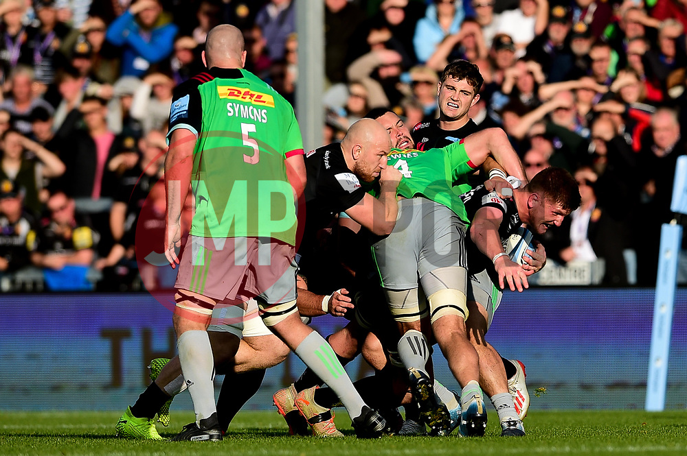 Jacques Vermeulen of Exeter Chiefs is tackled by Mark Lambert of Harlequins - Mandatory by-line: Ryan Hiscott/JMP - 19/10/2019 - RUGBY - Sandy Park - Exeter, England - Exeter Chiefs v Harlequins - Gallagher Premiership Rugby