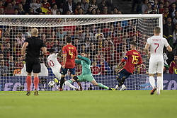 October 15, 2018 - Seville, Spain - RAHEEM STERLING of England (L ) scores for 3-0 during the UEFA Nations League Group A4 soccer match between Spain and England at the Benito Villamarin Stadium (Credit Image: © Daniel Gonzalez Acuna/ZUMA Wire)
