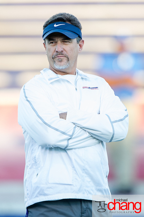 MOBILE, AL - OCTOBER 24: Head coach Joey Jones of the South Alabama Jaguars prior to their game against the Troy Trojans on October 24, 2014 at Ladd-Peebles Stadium in Mobile, Alabama.  The South Alabama Jaguars defeated the Troy Trojans 27-13. (Photo by Michael Chang/Getty Images) *** Local Caption *** Joey Jones